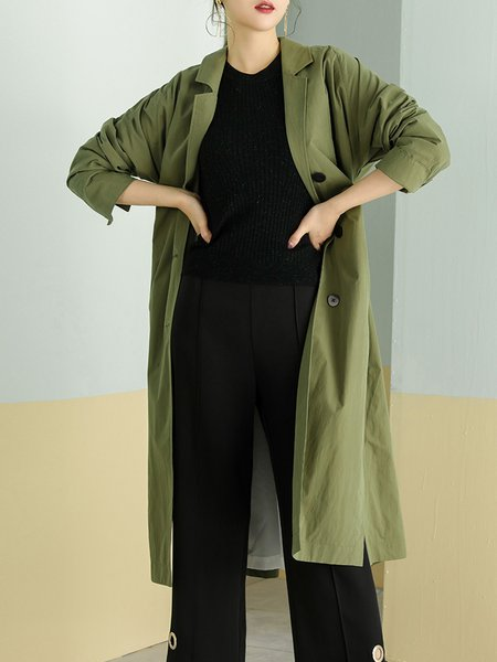 Casual Solid Cotton-blend Long Sleeve Trench Coat with Belt