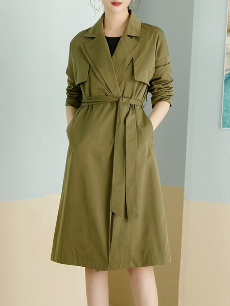 Casual Long Sleeve H-line Pockets Lapel Trench Coat with Belt