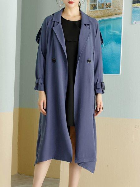 Lapel H-line Casual Solid Ruffled Long Sleeve Coat
