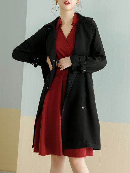 Black Buttoned Lapel Long Sleeve Shift Trench Coat with Belt