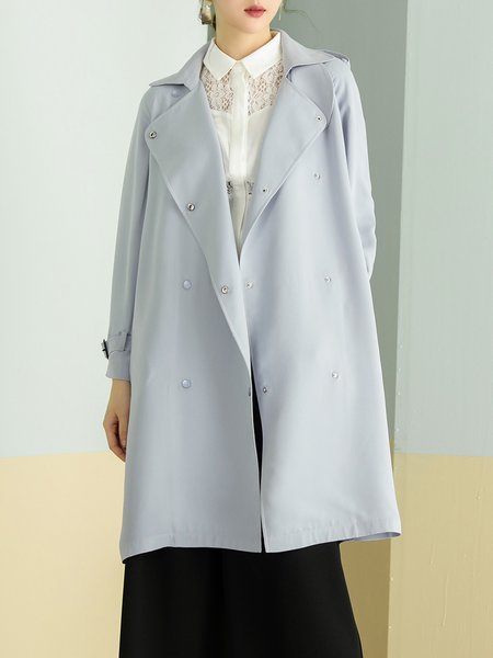 Shift Long Sleeve Buttoned Trench Coat with Belt