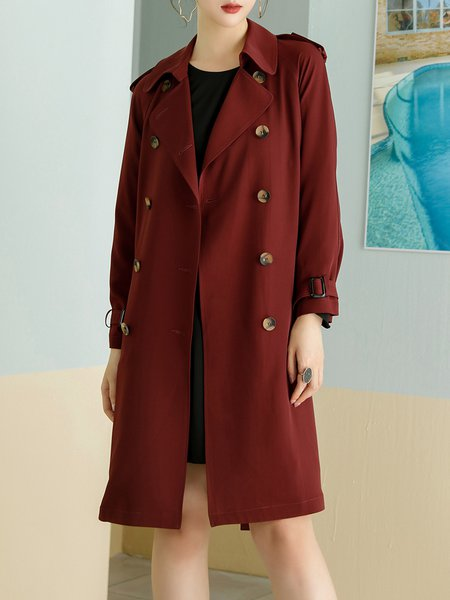 Long Sleeve Casual Lapel Trench Coat with Belt