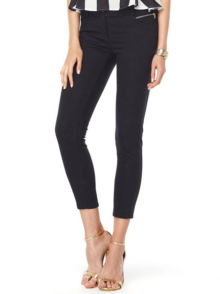 Black Solid Cotton Casual H-line Skinny Leg Pants