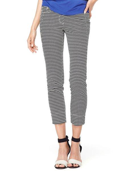 Black-white Cotton-blend H-line Casual Straight Leg Pants