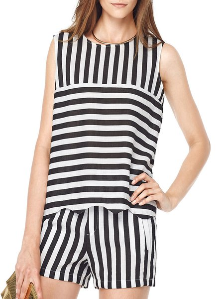 Black-white Casual Crew Neck Stripes Tank