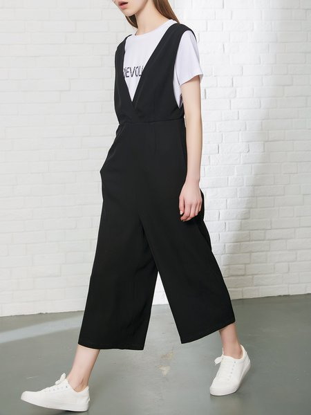 V Neck Sleeveless Casual Solid Jumpsuits