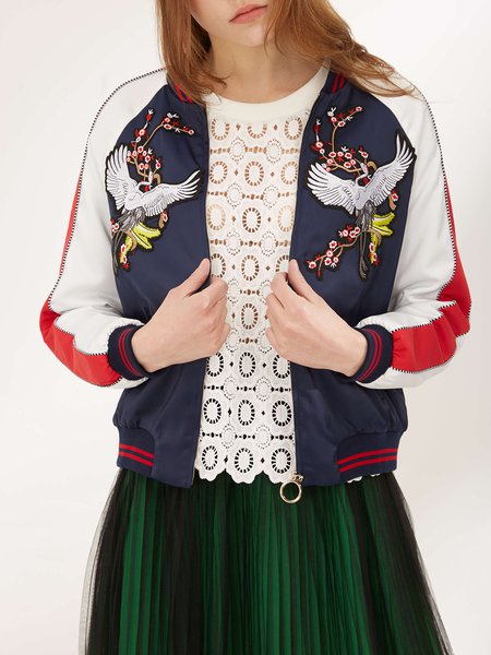 Casual Long Sleeve Embroidery H-line Bomber Jacket