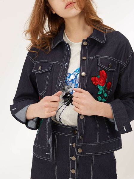 Dark Blue Appliqued Casual Floral H-line Cropped Jacket