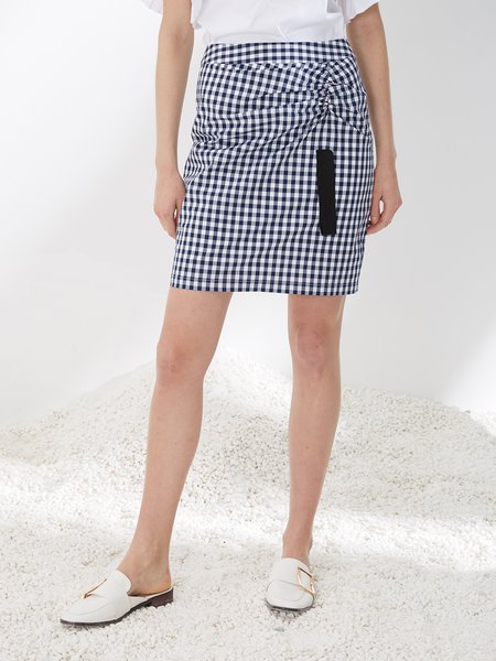 Black Ruched Checkered/Plaid Casual Mini Skirt