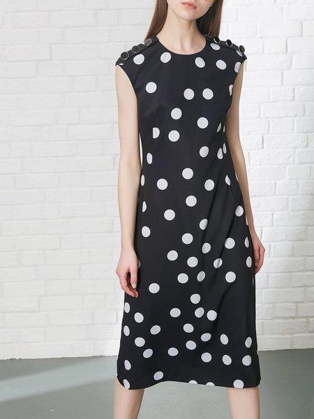 Black Polyester Casual Crew Neck Printed Midi Dress