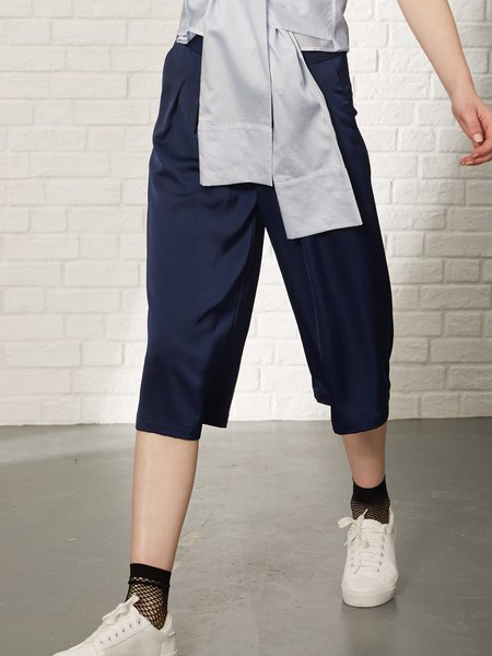 Dark Blue Polyester Solid Casual Wide Leg Pants