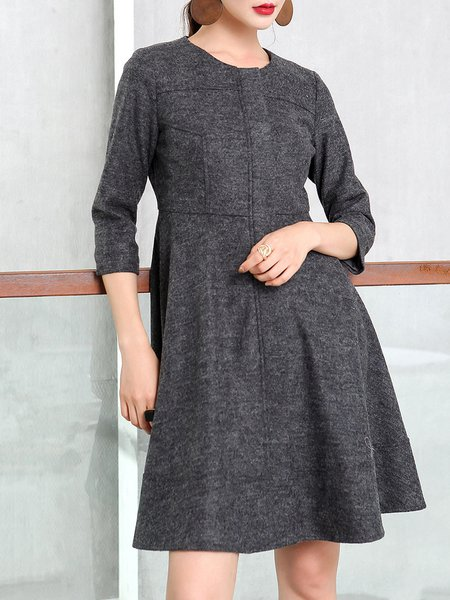 Gray Wool Blend Zipper Long Sleeve Mini Dress