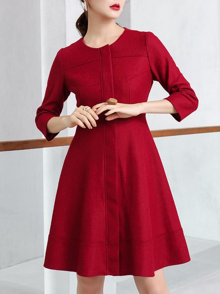 Red Zipper Wool Blend Long Sleeve Mini Dress