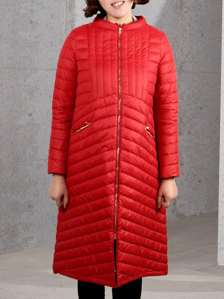 Stand Collar Zipper Cocoon Quilted Padded Down Coat