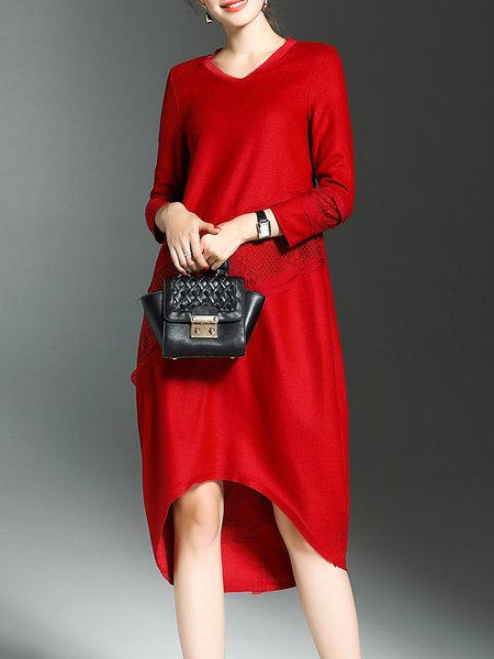 Red Polyester Long Sleeve Crew Neck Midi Dress