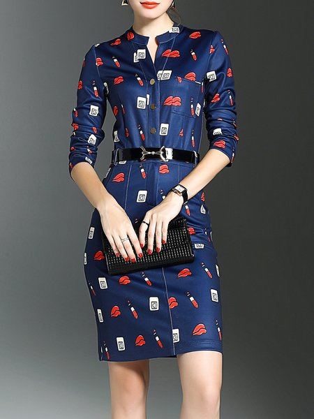 Navy Blue Sheath Elegant Printed Slit Midi Dress
