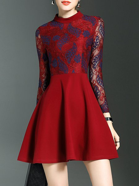 Red A-line Elegant Pierced Crochet Lace Mini Dress