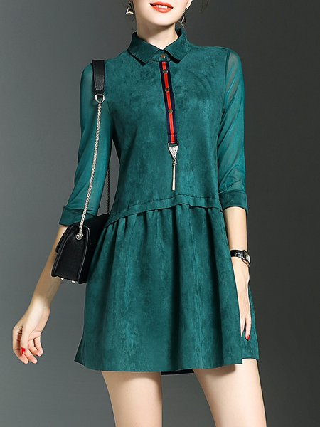 Green 3/4 Sleeve A-line Pleated Elegant Mini Dress