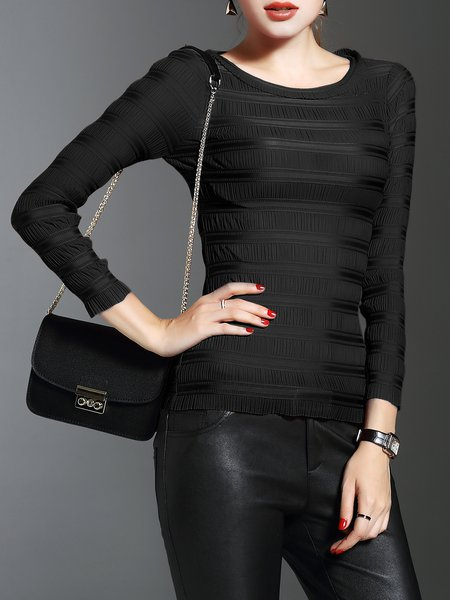Black Plain Folds Casual Paneled Long Sleeved Top