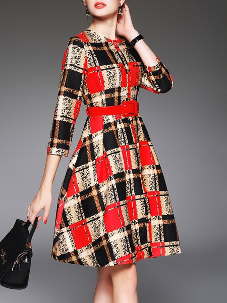 Red Checkered/Plaid Elegant A-line 3/4 Sleeve Midi Dress With Belt