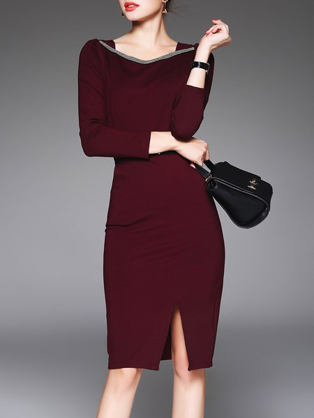 Wine Red Sheath Slit Long Sleeve Midi Dress