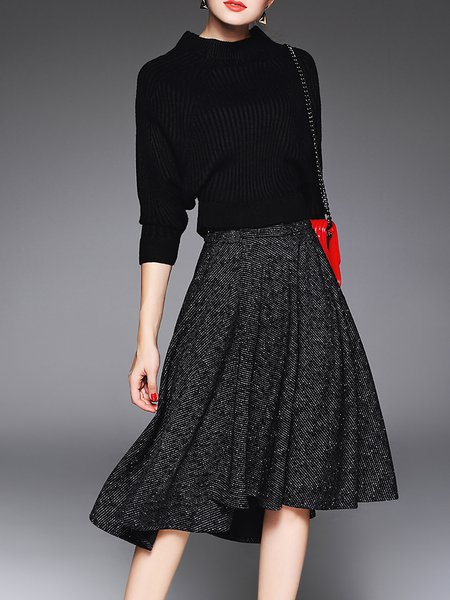 Knitted Casual Plain Long Sleeve Acrylic Midi Dress