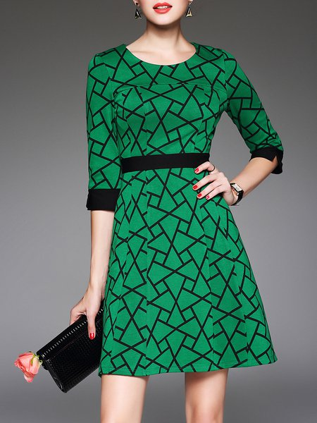 Half Sleeve Crew Neck Printed Geometric Casual Midi Dress