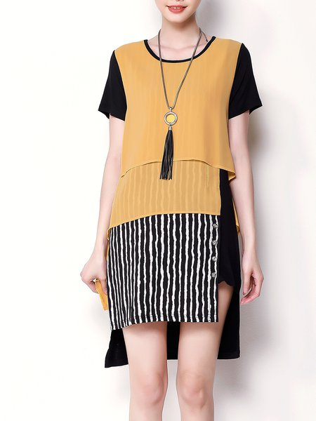 Stripes  Paneled Multicolor Color-block Crew Neck H-line Short Sleeve Mini Dress