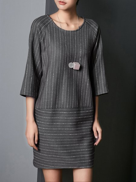 Gray H-line Stripes 3/4 Sleeve Midi Dress