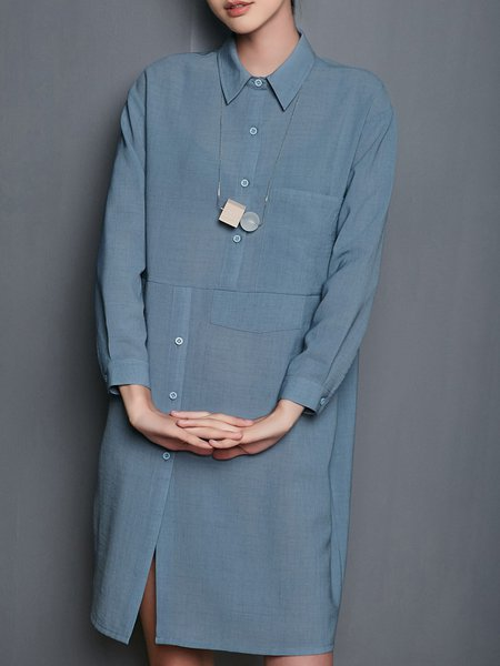 Simple Solid Buttoned Shirt Dress