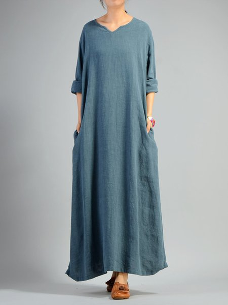 V Neck Casual Long Sleeve Solid Cotton Linen Dress