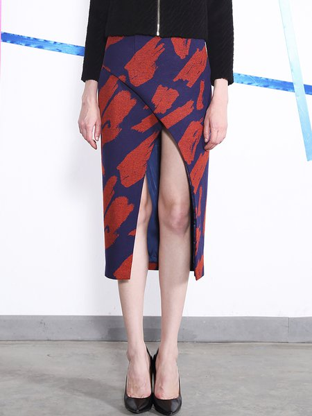 Orange Cutout Sexy Abstract High Low Wool Blend Midi Skirt