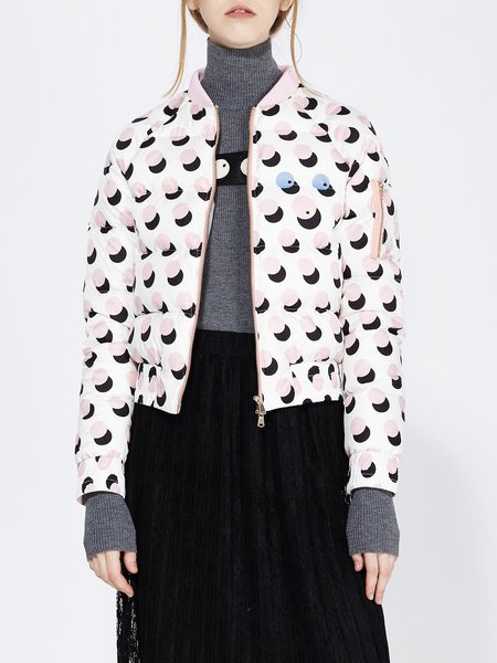 Printed Long Sleeve Casual Down Bomber Jacket