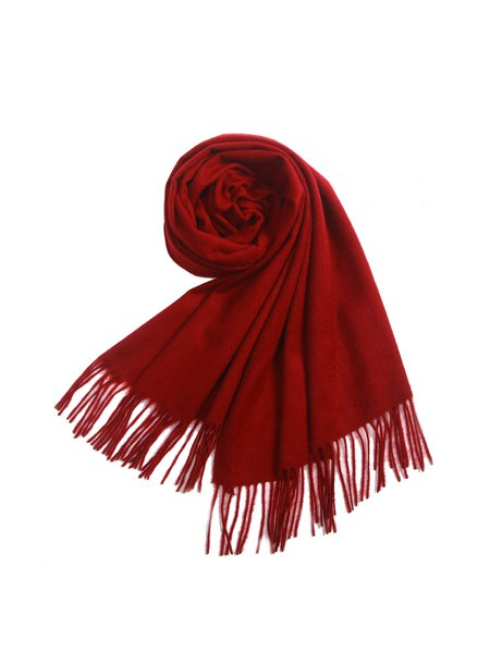 Fringed Wool Blend Casual Scarf