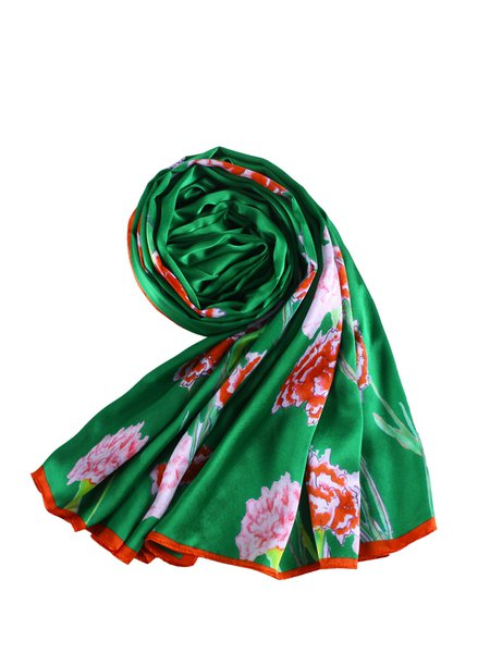 Green Floral Printed Silk Scarf