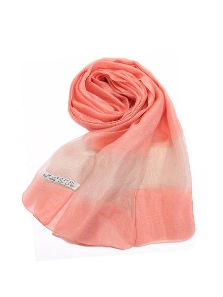 Color-block Silk-blend Casual Scarf