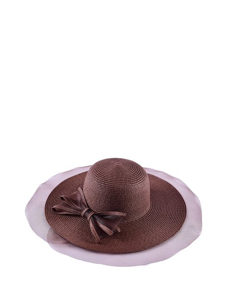 Coffee Bow Color-block Girly Hat