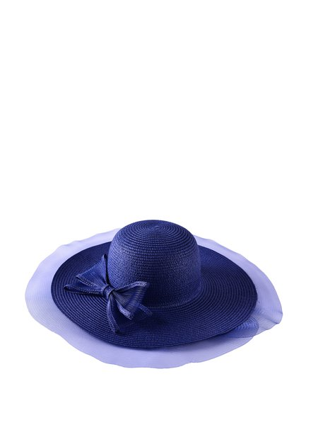 Blue Girly Color-block Bow Woven Straw Hat
