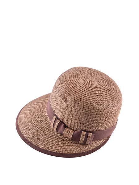 Camel Solid Bow Casual Hat