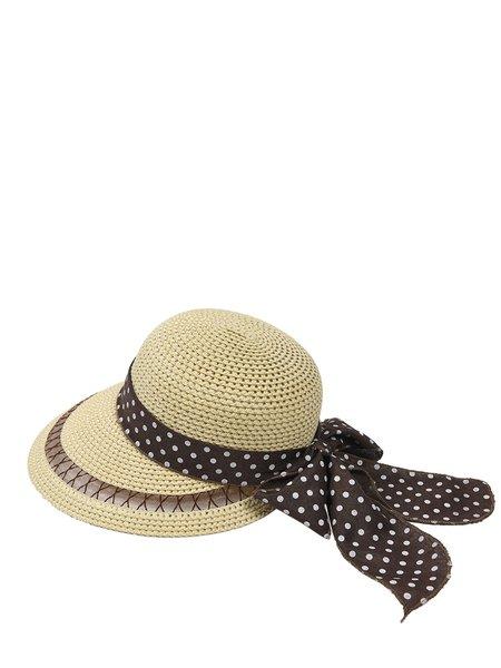 Beige Polka Dots Bow Tie Girly Beach Straw Hat