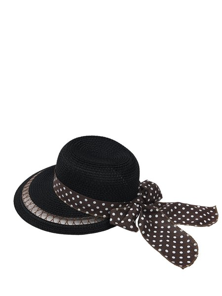 Black Polka Dots Bow Tie Girly Hat