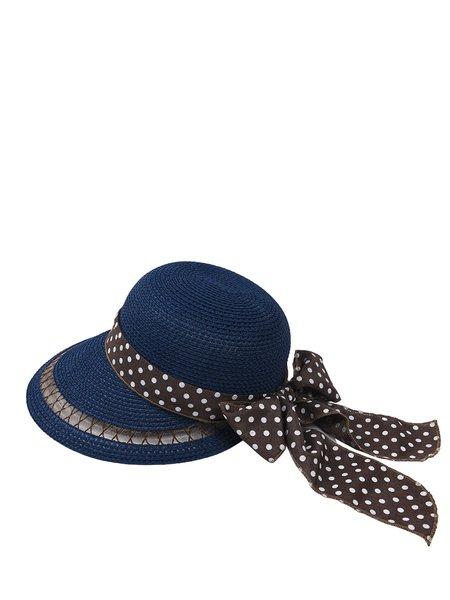 Blue Polka Dots Bow Tie Wide Brim Straw Hat