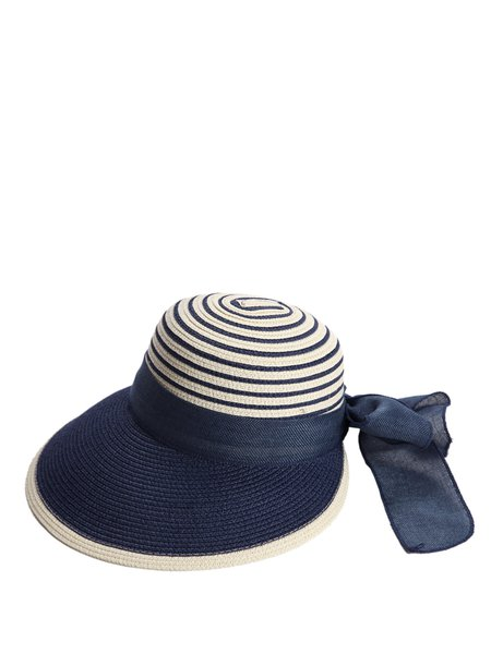 Dark Blue Color-block Bow Tie Straw Holiday Hat