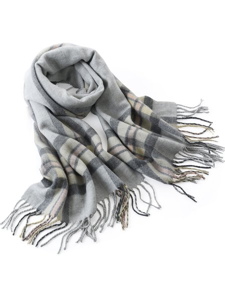 Light Gray Casual Checkered/Plaid Scarf