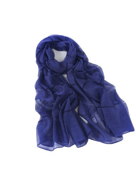Dark Blue Casual Solid Silk Scarf