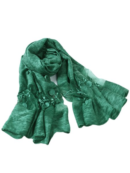 Green Casual Solid Polyester Scarf