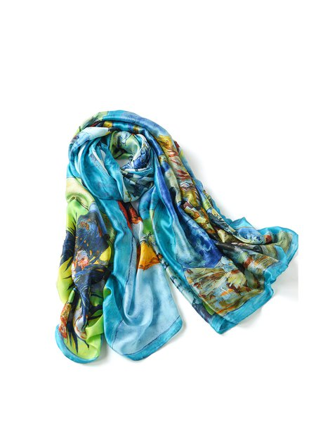 Blue Casual Abstract Scarf