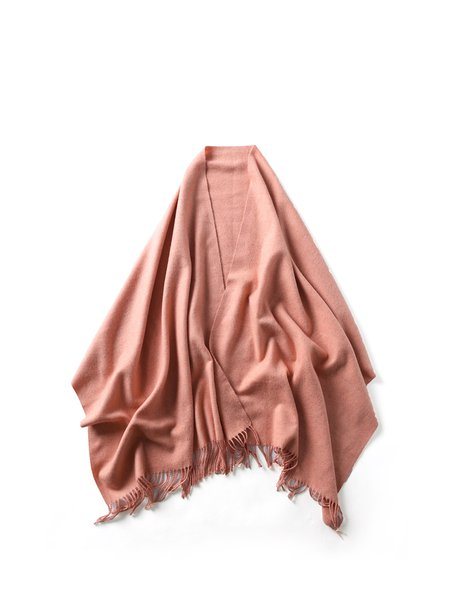 Pink Casual Solid Scarf