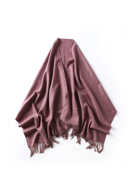 Purple Wool Solid Casual Scarf