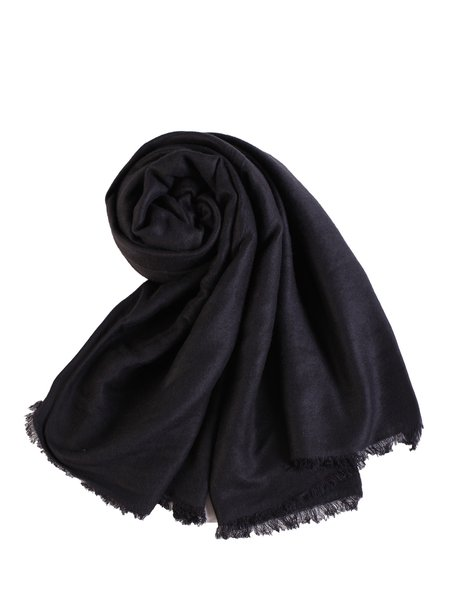 Black Solid Fringed Casual Scarf